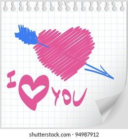 Valentine hand drawn vector