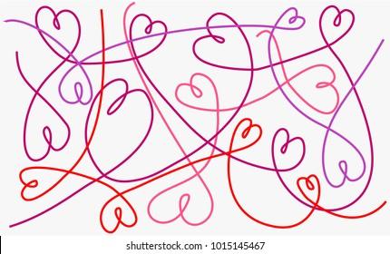 Valentine handcraft background with wool love hearts