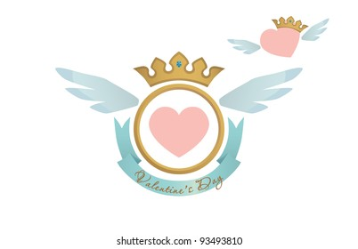 Valentine heart blazon with ribbon and crown