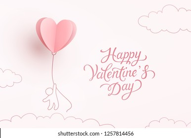 Valentine heart flying balloon with man on pink background. Vector love postcard for Happy Valentine's Day greeting card design.