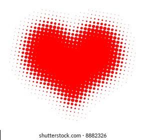 Valentine Heart Halftone Vector Illustration