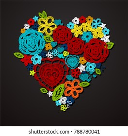 Valentine heart. Knitted flowers, embroidery lace. Crochet items with ethnic ornament, made with love.