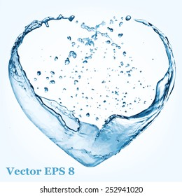Valentine heart made of blue water splash, vector illustration EPS 8.