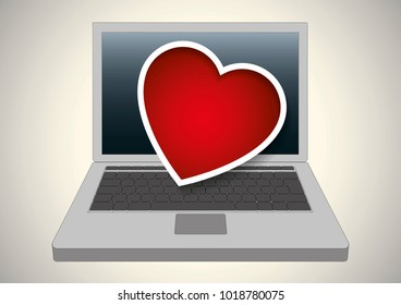 Valentine heart over a laptop computer. Velntines day, Vector illustration