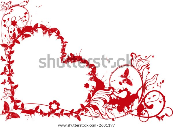 valentine heart with plant and butterflies  on grunge background - vector