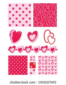 Valentine heart seamless patterns and icons