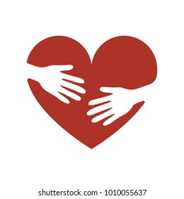 Valentine heart symbol. Heart icon with caring hands. hands hugging the heart vector