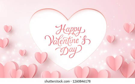 Valentine hearts with lettering postcard. Paper flying elements, glowing lights on pink background. Vector symbols of love for Happy Valentine's Day greeting card design.