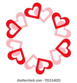 Valentine hearts in ring on white background. Vector illustration.