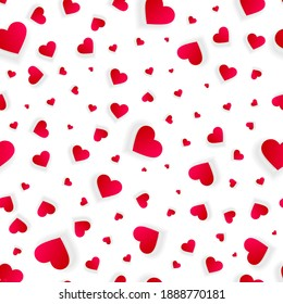Valentine hearts seamless background, vector love abstract pattern, wedding invitation with hearts messy scattered on white, splash texture with 3d red petals or confetti, romantic banner template