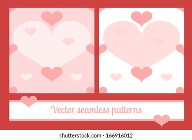 Valentine hearts vector seamless patterns set