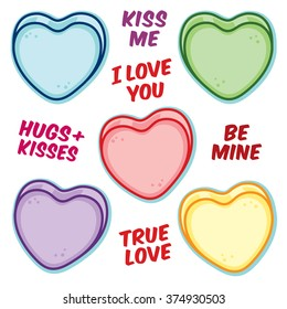 Valentine hearts and word sayings decorations confetti candy sprinkles