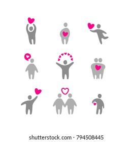 Valentine icon set. Design template. Vector illustration.