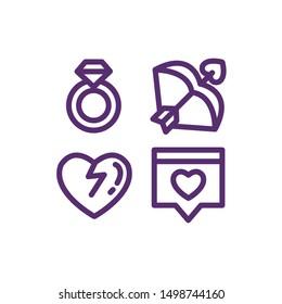 Valentine Icon Set , Diamond Ring, Cupid Bow, Broken Heart, Dating App , Vector Illustration