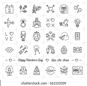 Valentine icon set, flat design line art thin style, Valentines day signs and love symbols. Wedding infographics, Black mono icons on a white background, Vector illustration