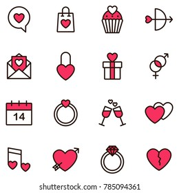 Valentine icon set. Happy valentine day related icon in white background