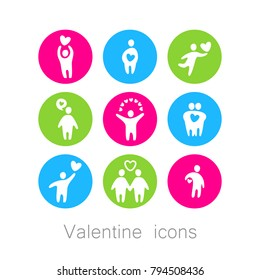 VALENTINE ICONS. 14 february, love, people, heart. Vector illustration.