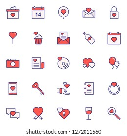 Valentine icons pack. Isolated valentine symbols collection
