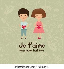valentine kids greeting card