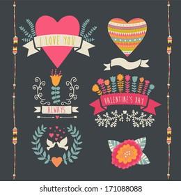 Valentine label set. Valentine`s Day emblems. Vector illustration. Vintage love collection.Laurel, wreath. flag. Tribal.