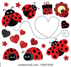 Valentine ladybugs theme image 2 - eps10 vector illustration.
