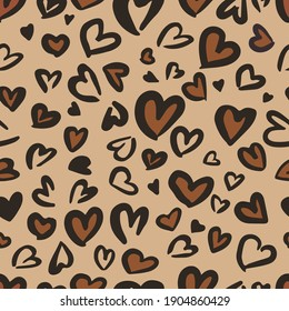 Valentine Leopard or jaguar seamless pattern. Trendy animal print. Spotted hearts imitate cheetah fur. Vector background for fabric, textile, wallpaper, wrapping paper, etc.