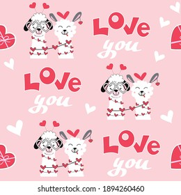Valentine llama and inscription love you seamless pattern. Vector illustration of funny animals. Valentines day concept on a pink background