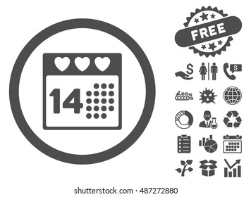 Valentine Love Day icon with free bonus pictograph collection. Vector illustration style is flat iconic symbols, gray color, white background.