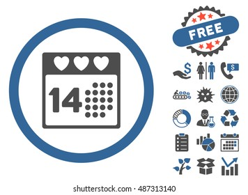 Valentine Love Day icon with free bonus symbols. Vector illustration style is flat iconic bicolor symbols, cobalt and gray colors, white background.