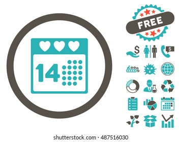 Valentine Love Day icon with free bonus clip art. Vector illustration style is flat iconic bicolor symbols, grey and cyan colors, white background.