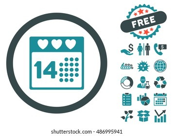 Valentine Love Day pictograph with free bonus icon set. Vector illustration style is flat iconic bicolor symbols, soft blue colors, white background.