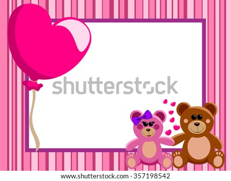 Valentine Love Frame Border Couple Teddy Stock Vector (Royalty Free ...