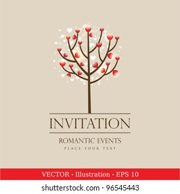 Valentine love tree with hearts.  Invitation vintage card.  Wedding or Valentine`s Day.  Vector illustration