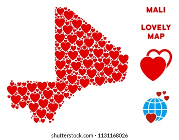Valentine Mali map collage of red hearts. We like Mali map template. Abstract vector area scheme is formed of red lovely icons.