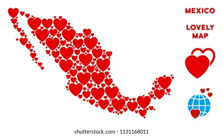 Valentine Mexico map mosaic of red hearts. We like Mexico map concept. Abstract vector geographic plan is formed of red valentine elements.