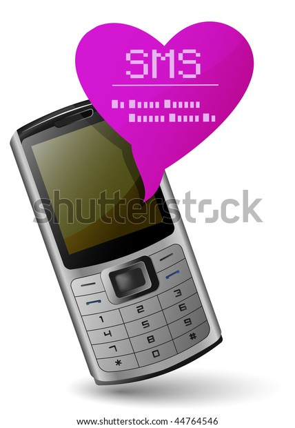 Valentine Mobile Phone Send Receive Sms Stock Vector (Royalty Free