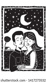 Valentine in the moonlight in the hinterland