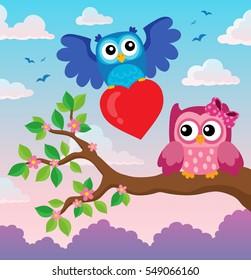 Valentine owls theme image 3 - eps10 vector illustration.