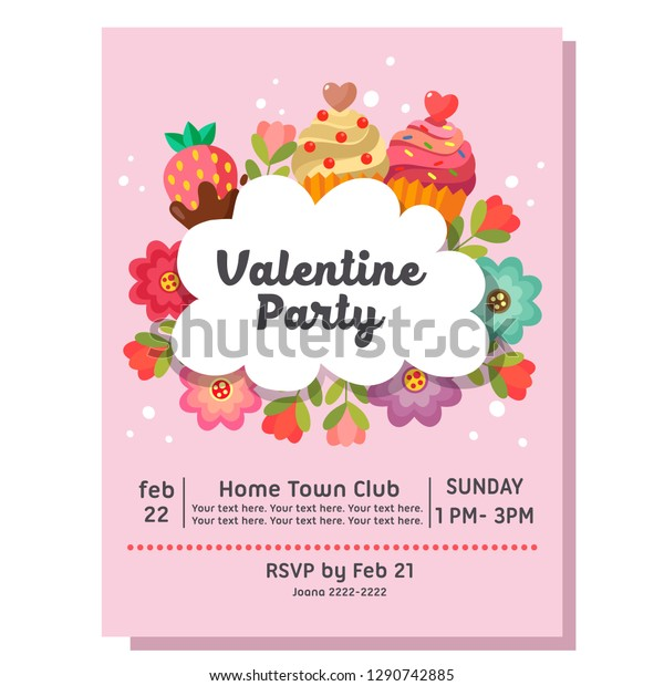 Valentine Party Invitation Card Cake Sweets Stock Vector