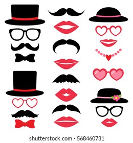 Valentine photo booth vector set with hats, mustaches, lips and bow tie.
