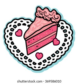 Valentine pink layered love cake icing heart candies white doily