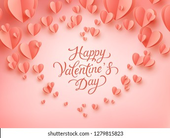 Valentine postcard with paper flying hearts on coral background. Vector symbols of love for Happy Valentine's Day greeting card design.