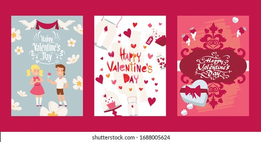 Valentine poster, text font, character boy, girl, gift present, 14 february, flat vector illustration. Happy valentine day card, pink flyer, lovely couple, lovers, date. Love different people.