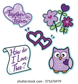 Valentine purple love icon set flowers owl hearts letter