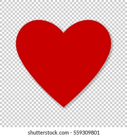 Valentine red heart on transparent background. Simple heart icon vector EPS-10.
