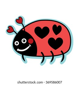 Valentine red love lady bug with heart polka dots