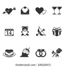 Valentine related items icon set in grey scale.Transparent shadows placed on layer beneath.