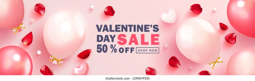 Valentine s Day sale background.Romantic composition with hearts, balloons,rose petals and beads. Vector illustration for website , posters,ads, coupons, promotional material.