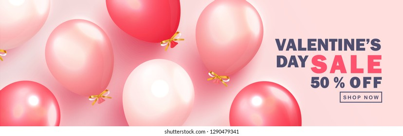 Valentine s Day sale background.Romantic composition with balloons. Vector illustration for website , posters,ads, coupons, promotional material.