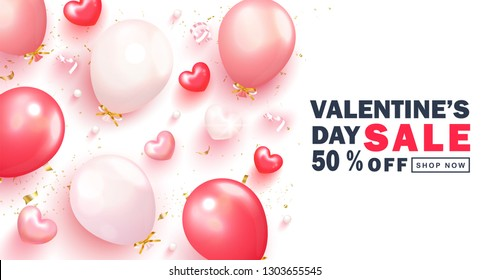 Valentine s Day sale background.Romantic composition with hearts, balloons,serpentine and beads. Vector illustration for website , posters,ads, coupons, promotional material.